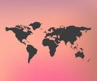 Απεικόνιση eps 10 παγκόσμιων χαρτών στο θολωμένο ρόδινο κόκκινο πλέγμα υποβάθρου με τα εμβλήματα κατάλληλα για infographic Στοκ εικόνες με δικαίωμα ελεύθερης χρήσης