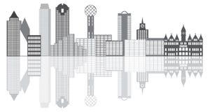 Απεικόνιση Grayscale οριζόντων πόλεων του Ντάλλας Στοκ φωτογραφία με δικαίωμα ελεύθερης χρήσης