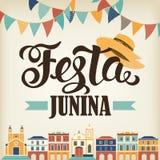 Απεικόνιση Junina Festa βαλμένο σε στρώσεις αρχείο διάνυσμα εμβλημάτων eps10 Λατινοαμερικάνικες διακοπές Στοκ Εικόνες