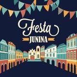 Απεικόνιση Junina Festa βαλμένο σε στρώσεις αρχείο διάνυσμα εμβλημάτων eps10 Λατινοαμερικάνικες διακοπές Στοκ Φωτογραφία
