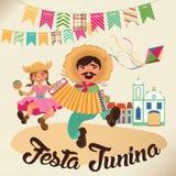 Απεικόνιση Junina Festa - παραδοσιακό κόμμα φεστιβάλ της Βραζιλίας Ιούνιος Στοκ Εικόνες