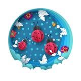 Απεικόνιση Ladybug Κινούμενα σχέδια paperlandscape Φύλλο, σύννεφο, αστέρι Στοκ Φωτογραφίες