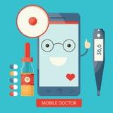 Απεικόνιση Moden των κινητών υπηρεσιών υγειονομικής περίθαλψης, on-line Στοκ Εικόνες