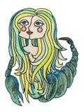 Απεικόνιση pensil Watercolor zodiac του σημαδιού Κορίτσι Σκορπιού με τη ζωηρόχρωμη τρίχα η ανασκόπηση απομόνωσε το λευκό Στοκ Εικόνα