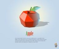 Απεικόνιση PrintVector του polygonal κόκκινου μήλου με το φύλλο, σύγχρονο εικονίδιο, αντικείμενο φρούτων Στοκ Εικόνα