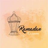 Απεικόνιση Ramadan kareem και Ramadane Mubarak με το φανάρι Παραδοσιακός ιερός μήνας επιθυμιών ευχετήριων καρτών Ελεύθερη απεικόνιση δικαιώματος