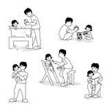 Απεικόνιση Vektor της αγάπης της οικογένειας που παίζει και που απολαμβάνει Διανυσματική απεικόνιση