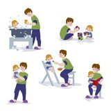 Απεικόνιση Vektor της αγάπης της οικογένειας που παίζει και που απολαμβάνει Απεικόνιση αποθεμάτων
