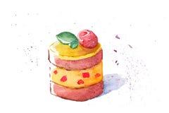 Απεικόνιση Watercolor ενός εύγευστου κέικ Στοκ Εικόνες