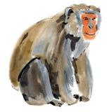 Απεικόνιση Watercolor ενός πιθήκου ελεύθερη απεικόνιση δικαιώματος