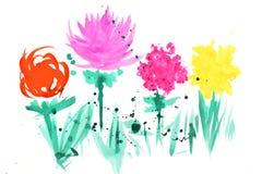 Απεικόνιση Watercolor με τα ζωηρόχρωμα αφηρημένα λουλούδια Στοκ φωτογραφία με δικαίωμα ελεύθερης χρήσης
