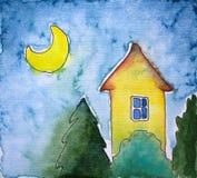 Απεικόνιση Watercolor με το του χωριού σπίτι, τα δέντρα έλατου και το φεγγάρι Στοκ εικόνα με δικαίωμα ελεύθερης χρήσης