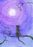 Απεικόνιση Watercolor μιας γάτας σε ένα δέντρο Στοκ Εικόνα