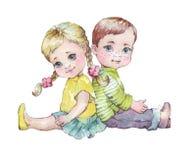 Απεικόνιση watercolor συνεδρίασης μικρών παιδιών και κοριτσιών μαζί Στοκ εικόνα με δικαίωμα ελεύθερης χρήσης