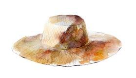 Απεικόνιση Watercolor, συρμένο χέρι απομονωμένο αντικείμενο καπέλων αχύρου στο λευκό απεικόνιση αποθεμάτων