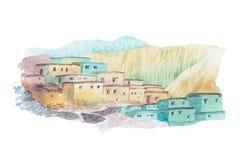 Απεικόνιση watercolor της Μέσης Ανατολής εξοχικών σπιτιών ερήμων Στοκ Φωτογραφίες