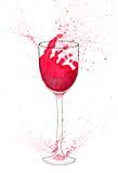 Απεικόνιση Watercolor του γυαλιού κρασιού με το κόκκινο κρασί και τους παφλασμούς Στοκ εικόνες με δικαίωμα ελεύθερης χρήσης
