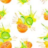 Απεικόνιση Watercolor του πορτοκαλιού και του ασβέστη στον παφλασμό χυμού που απομονώνεται σε ένα άσπρο υπόβαθρο πρότυπο άνευ ραφ διανυσματική απεικόνιση