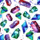 Απεικόνιση Watercolor των κρυστάλλων διαμαντιών - άνευ ραφής σχέδιο Στοκ εικόνα με δικαίωμα ελεύθερης χρήσης