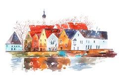 Απεικόνιση Watercolor των σπιτιών με τα παραδοσιακά ευρωπαϊκά αρχιτεκτονικά χαρακτηριστικά γνωρίσματα ελεύθερη απεικόνιση δικαιώματος