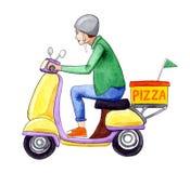Απεικόνιση waterercolor ατόμων παράδοσης πιτσών Στοκ εικόνα με δικαίωμα ελεύθερης χρήσης