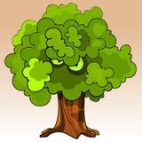 Απειλητικό δέντρο κινούμενων σχεδίων με τα μάτια στο πράσινο φύλλωμα Στοκ Εικόνα