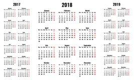 Απλά διανυσματικά ημερολόγια για το 2018 και το 2017 2019 έτη Διανυσματική απεικόνιση