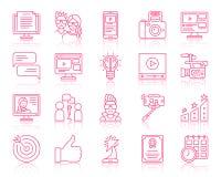 Απλά εικονίδια γραμμών χρώματος Blog που το διανυσματικό σύνολο ελεύθερη απεικόνιση δικαιώματος
