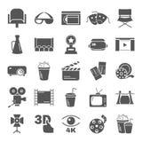 Απλά εικονίδια κινηματογράφων που τίθενται για τον Ιστό και το κινητό σχέδιο Στοκ Εικόνες