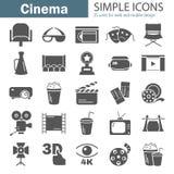 Απλά εικονίδια κινηματογράφων που τίθενται για τον Ιστό και το κινητό σχέδιο Στοκ Εικόνα