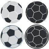 Απλά εικονίδια σφαιρών ποδοσφαίρου στο άσπρο υπόβαθρο Στοκ Εικόνα