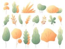 Απλά ζωηρόχρωμα φύλλα φθινοπώρου Φθινοπωρινοί δέντρα και οι Μπους Κίτρινο διανυσματικό σύνολο φύλλων Minimalistic οριζόντια απεικόνιση αποθεμάτων