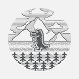 Απλή απεικόνιση ενός τοπίου με το δεινόσαυρο ελεύθερη απεικόνιση δικαιώματος