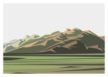 Απλή απεικόνιση τοπίου βουνών και τομέων Στοκ εικόνες με δικαίωμα ελεύθερης χρήσης