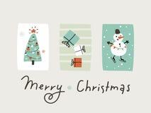 Απλή διανυσματική απεικόνιση παιδιών Αστεία κάρτα Χριστουγέννων χιονανθρώπων στοκ φωτογραφίες με δικαίωμα ελεύθερης χρήσης