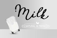 Απλή διανυσματική αφίσα γάλακτος Μειωμένο γυαλί Μη διαφανή αντικείμενα Στοκ φωτογραφία με δικαίωμα ελεύθερης χρήσης
