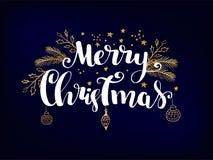 Απλή κάρτα Χριστουγέννων - σκοτεινό, μπλε υπόβαθρο με τα χρυσά αστέρια φύλλων αλουμινίου και τις χειρόγραφες επιστολές ελεύθερη απεικόνιση δικαιώματος