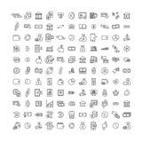Απλή συλλογή σχετικών με των τα χρήματα εικονιδίων γραμμών στοκ εικόνες