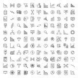 Απλή συλλογή σχετικών με των την ανάλυση εικονιδίων γραμμών στοκ εικόνες