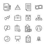Απλή συλλογή σχετικών με των την διαχείριση εικονιδίων γραμμών Στοκ εικόνα με δικαίωμα ελεύθερης χρήσης