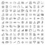 Απλή συλλογή σχετικών με των τις επενδύσεις εικονιδίων γραμμών στοκ εικόνες