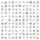 Απλή συλλογή των αναλυτικών σχετικών εικονιδίων γραμμών στοκ εικόνα