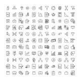 Απλή συλλογή των ανεξάρτητων σχετικών εικονιδίων γραμμών στοκ εικόνα