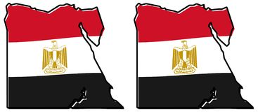 Απλουστευμένος χάρτης της περίληψης της Αιγύπτου, με την ελαφρώς καμμμένη σημαία κάτω από το ι διανυσματική απεικόνιση