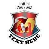 Απλός κομψός αρχικός τύπος ZM ή MZ επιστολών απεικόνιση αποθεμάτων