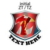Απλός κομψός αρχικός τύπος ZT ή TZ επιστολών διανυσματική απεικόνιση