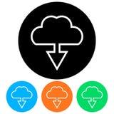 Απλός, μεταφορτώστε οριζόντια από ένα πλαίσιο εικονιδίων σύννεφων Τέσσερις παραλλαγές χρώματος διανυσματική απεικόνιση