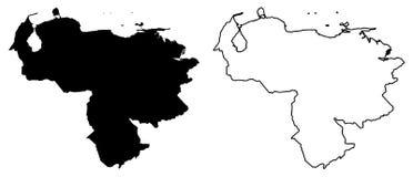 Απλός μόνο αιχμηρός χάρτης γωνιών - Δημοκρατία Bolivarian Venezue απεικόνιση αποθεμάτων
