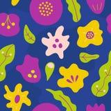 Απλό άνευ ραφής σχέδιο με τα αφηρημένα συρμένα χέρι λουλούδια Στοκ Εικόνες