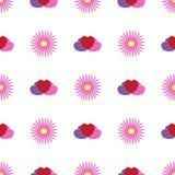 Απλό άνευ ραφής σχέδιο με τα λουλούδια και τις καρδιές Floral διανυσματική απεικόνιση ελεύθερη απεικόνιση δικαιώματος